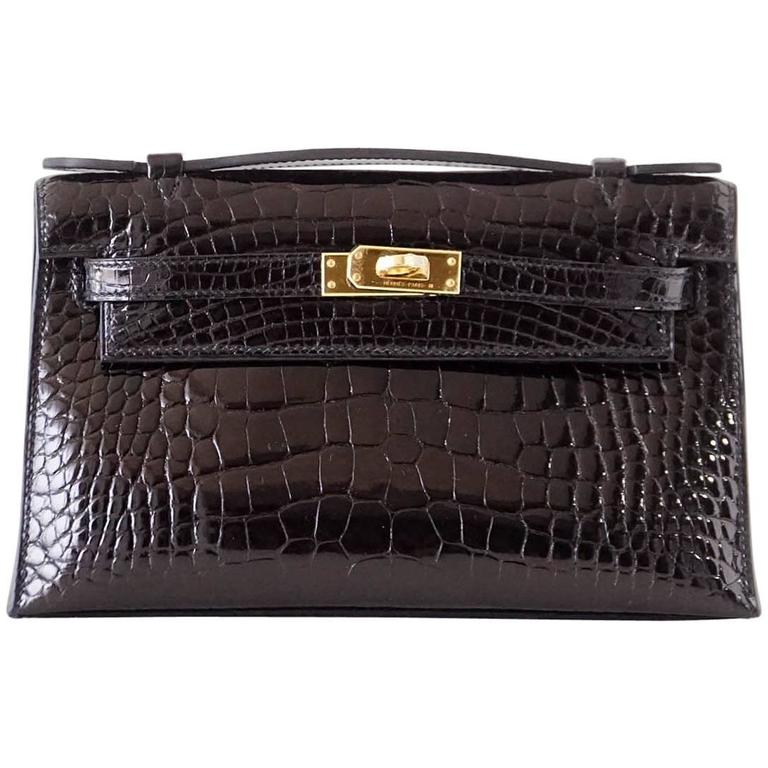 Hermes Kelly Pochette Clutch Bag Shiny Black Alligator Gold 1
