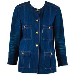 Vintage Chanel Boutique Blue & Red Denim 'CC' Button Jacket