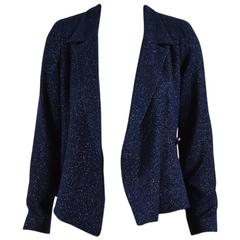 Chanel 00T Navy Blue Glitter Wool Blend Tweed Blazer Jacket SZ 38