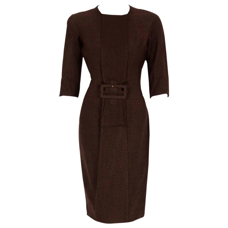 1954 Sorelle Fontana Couture Chocolate Brown Wool Sculpted Buckle Wiggle Dress