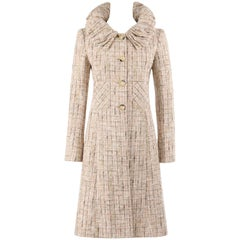 VALENTINO A/W 2008 Beige Multicolor Cotton Tweed Princess Coat