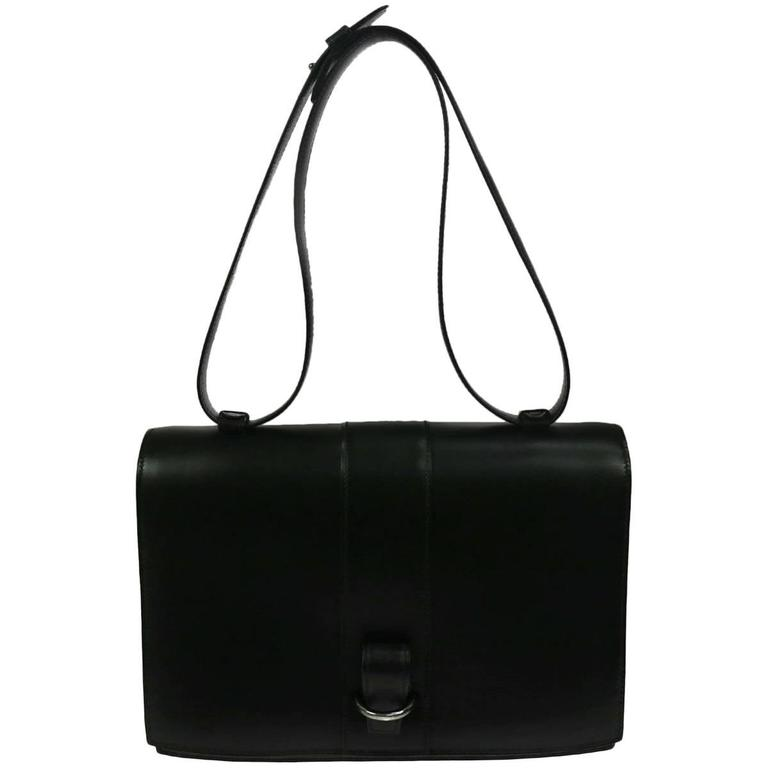 Hermes Vintage Black Leather Kelly Style Top Handle Satchel Flap Shoulder Bag