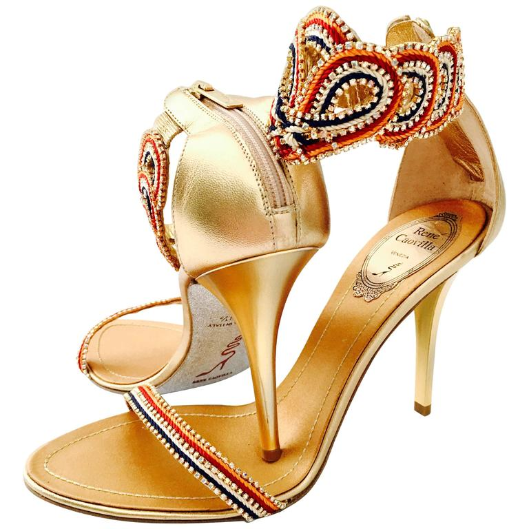Contemporary &  New Rene Caovilla Metallic Embellished Ankle Wrap Sandals