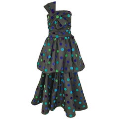 Vintage Nina Ricci Strapless Multi Color Polkadot Gown