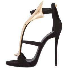 Giuseppe Zanotti New Black Suede Gold Wave Evening Sandals Heels