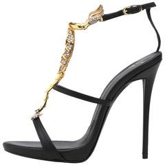 Giuseppe Zanotti New Sold Out Black Leather Gold Crystal Evening Heels in Box
