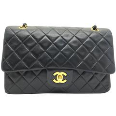 Chanel Classic Double Flap Black Quilting Lambskin Leather Shoulder Bag
