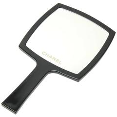 Chanel Black Large Hand Mirror + Case