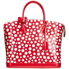 2010s Louis Vuittion Vernis Leather Dots Infinity Red Yayoi Kusama Lockit MM