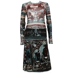 Jean Paul Gaultier Vintage Native American Print Top and Skirt Ensemble