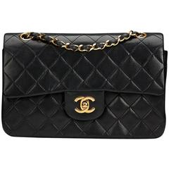 1980s Chanel Black Quilted Lambskin Vintage Small Classic Double Flap Bag