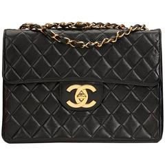 1990s Chanel Black Quilted Lambskin Vintage Jumbo XL Flap Bag