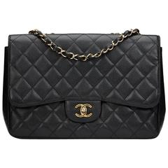 2010s Chanel Black Quilted Caviar Leather Jumbo Classic Single Flap Bag