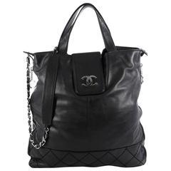 Chanel Expandable Ligne Messenger Bag Leather Large