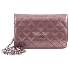 Chanel Wallet on Chain Quilted Striped Metallic Patent