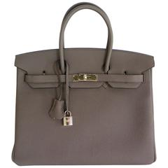 Hermes Birkin 35cm Bag Etain Grey Togo Palladium A 2017