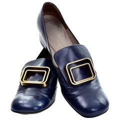 1960s Vintage Pierre Cardin Navy Blue Leather Shoes With Gold Buckles