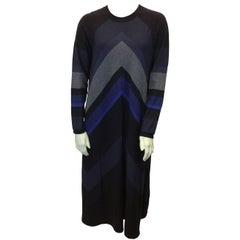 Sonia Rykiel Blue and Grey Chevron Sweater Dress