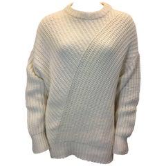 Ryan Roche White Knit Oversized Sweater