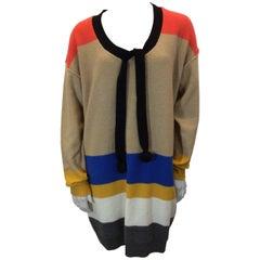 Sonia Rykiel Multicolor Striped Tunic with Pom Pom Neck Tie
