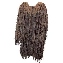 Sonia Rykiel Tan Shag Texture Knit Cardigan