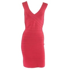 Herve Leger Red Sleeveless Bandage Dress - M