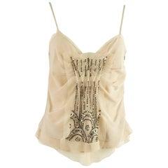 Prada Blush Silk Beaded Top - 42