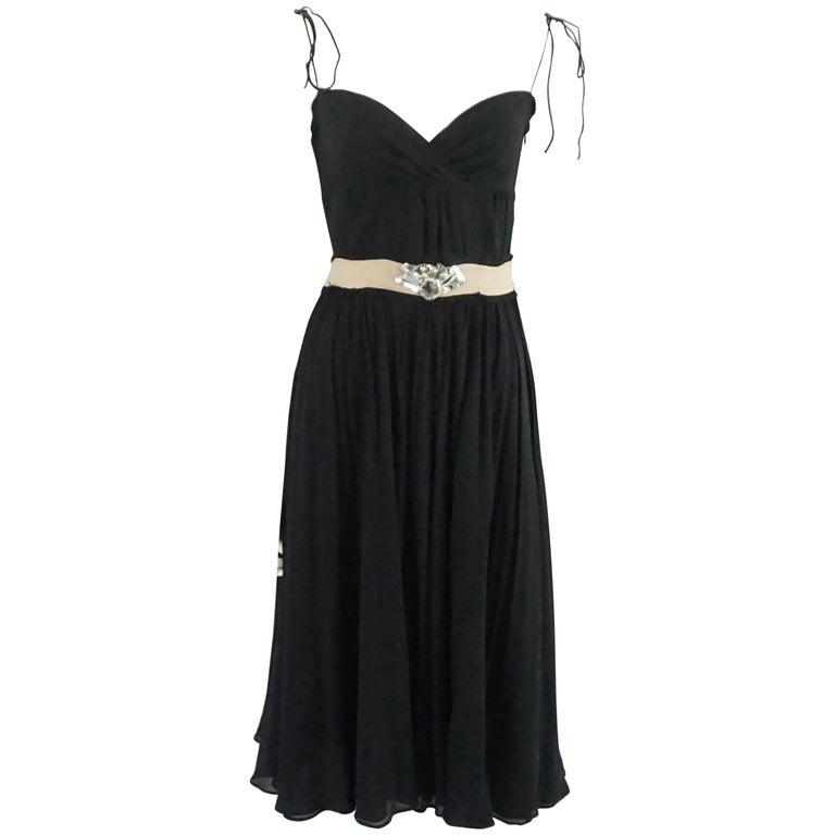 Alessandro Dell'Acqua Black Silk Dress with Stones - 40