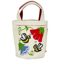 1960's Beige Bucket Tote with Floral Embroidery