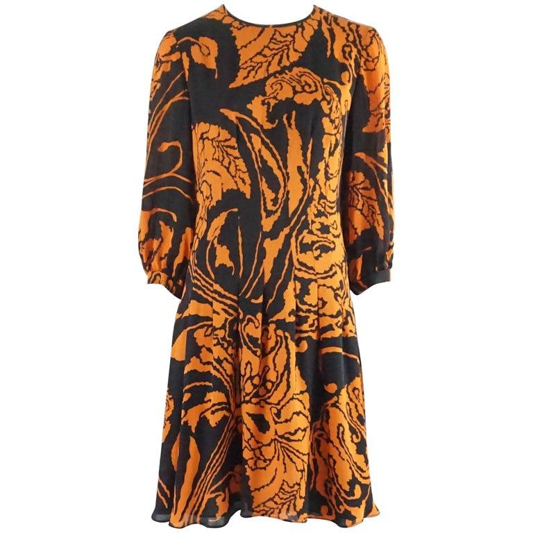 Gucci Orange and Black Print Long Sleeve Dress - 42