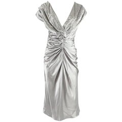 Christian Dior Silver Satin Ruched Beaded Dress - 46