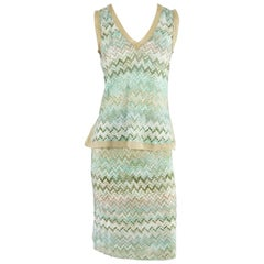 Missoni Aqua and Beige Knit Top and Skirt - 42