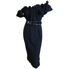 Christian Dior by John Galliano Little Black Dress with Off the Shoulder Ruffle