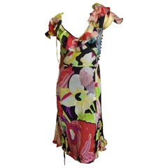 Christian Lacroix Sweet Silk Floral Day Dress with Ruffle Details