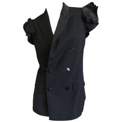 Jean Paul Gaultier Vintage Black Sleeveless Double Breasted Jacket with Ruffles