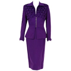 1940's Lilli-Ann Purple Ruched Wool Rhinestone Tailored Hourglass Skirt Suit