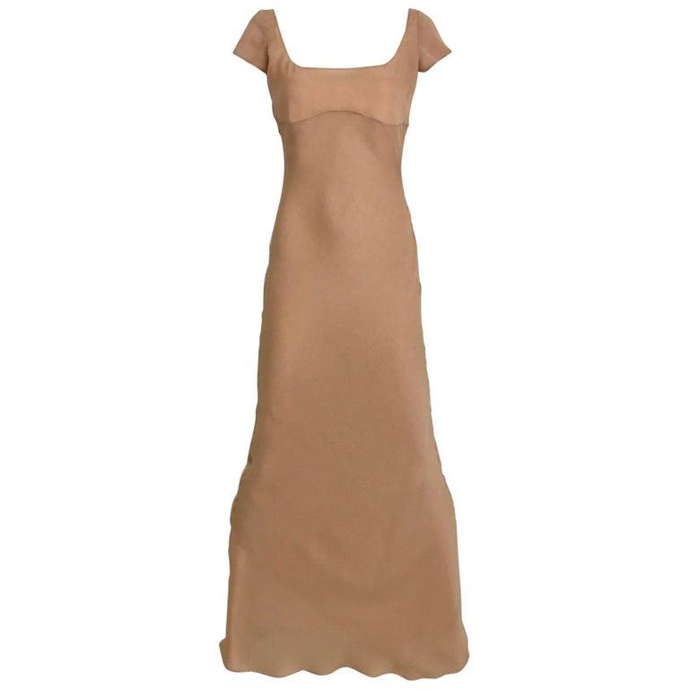 1990s Richard Tyler Nude Silk Chiffon Gown