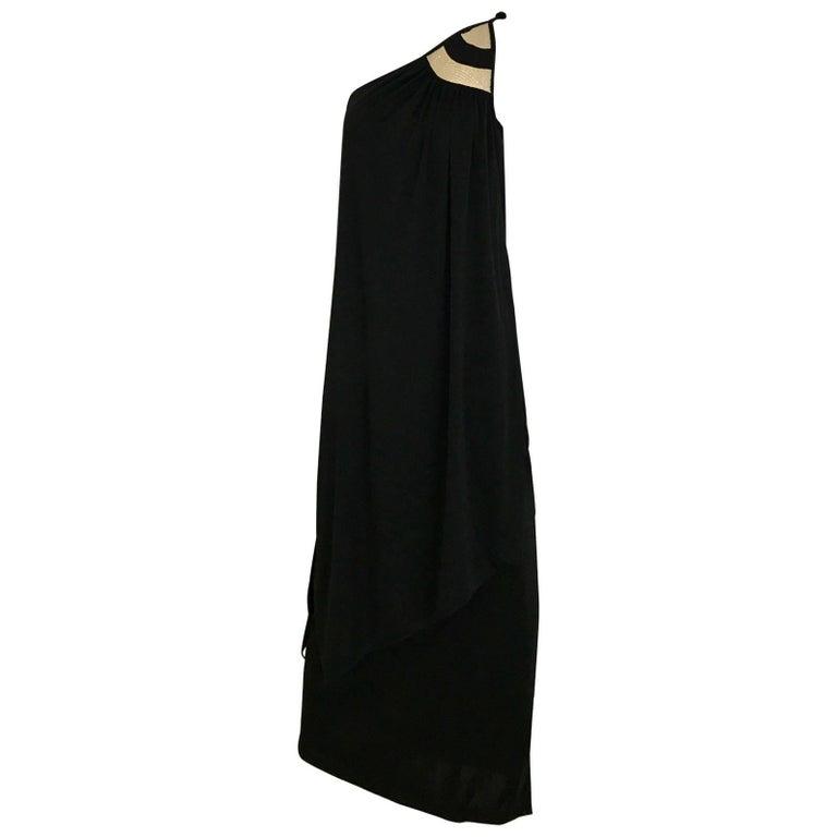 1970s Vintage Bill Tice Black Jersey One Shoulder Dress