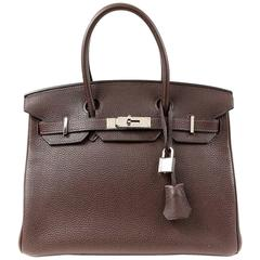 Hermès Chocolate Togo 30 cm Birkin Bag with Palladium HW