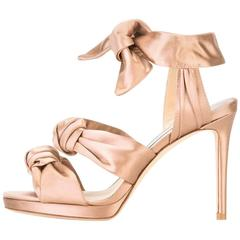 Jimmy Choo New Satin Knot Bow Tie Up Evening Sandals Heels in Box