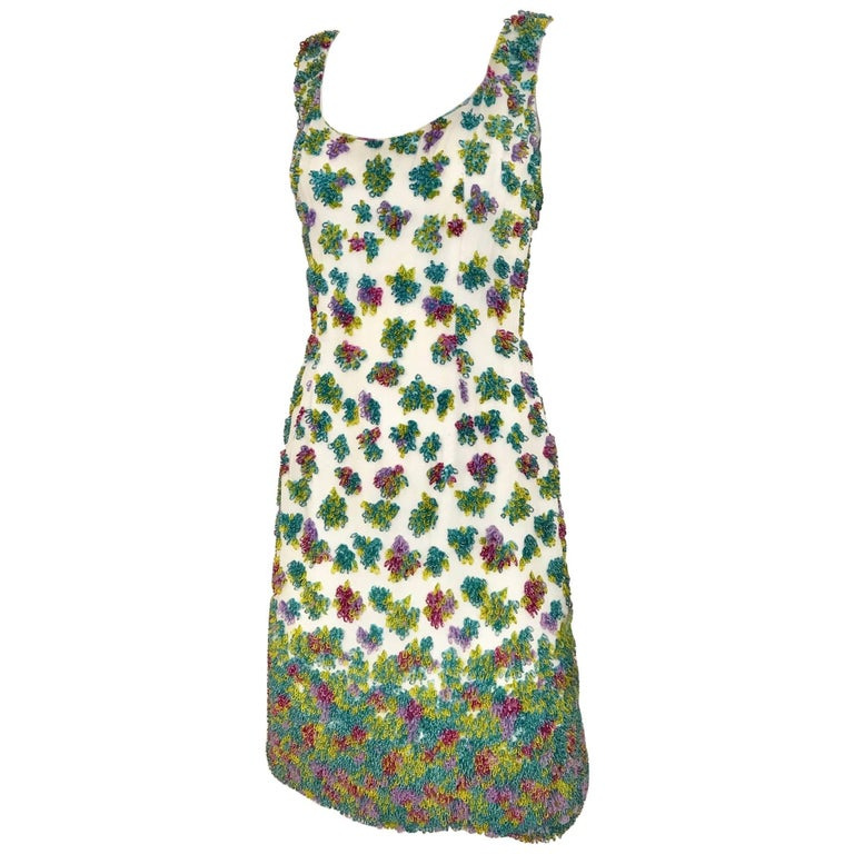 1950s Multi Color Beaded Sleeveles Cocktail Dress