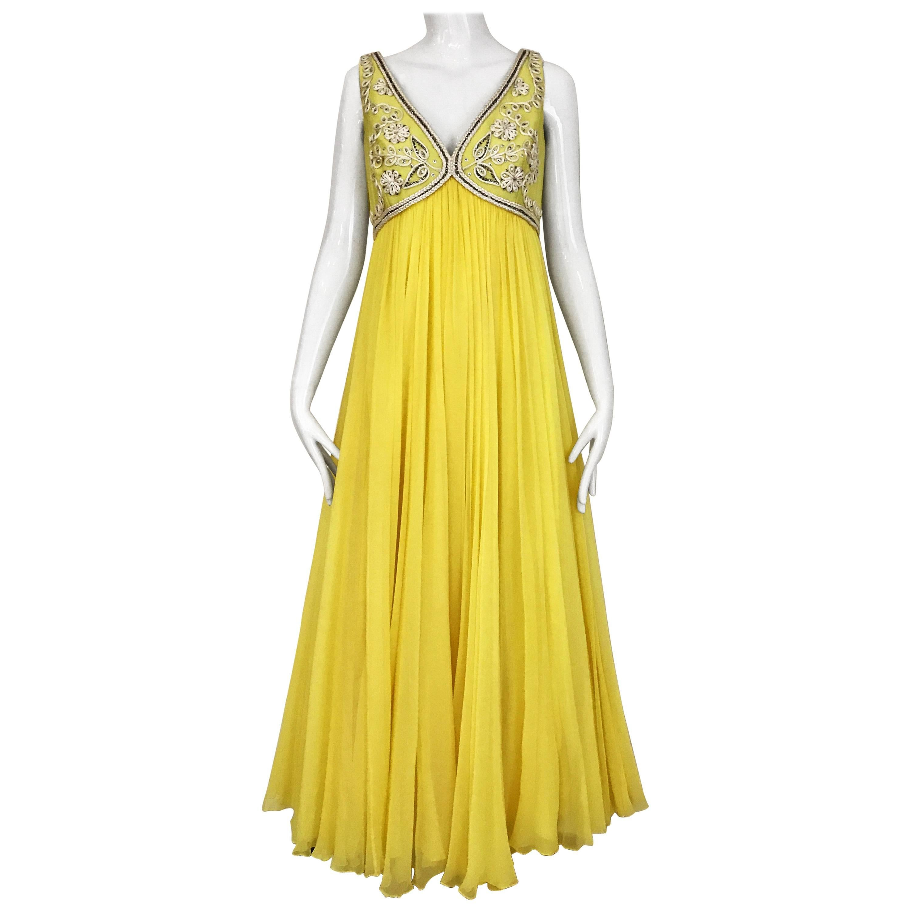 Vintage 1960s Yellow Silk Chiffon Gown with Jacket ensemble