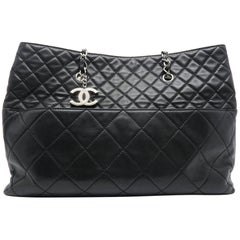 Chanel Black Quilted Lambskin Leather Silver Metal Chain Tote Bag