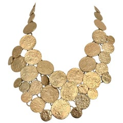 1970s Gold Disk Bib Necklace