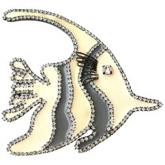 1980s GIORGIO ARMANI Grey and Creme Large Fish Brooch Pin with Rhinestones