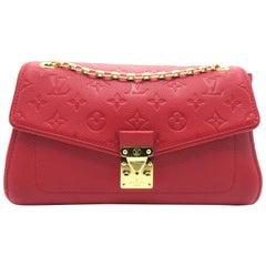 Louis Vuitton Saint-Germain PM Red Monogram Empreinte Chain Shoulder Flap Bag