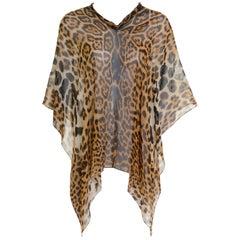 YVES SAINT LAURENT Rive Gauche Sheer Silk Leopard Print Poncho