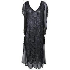 1920s Antique Black Sheer Sequins Embroidered Flapper Dress