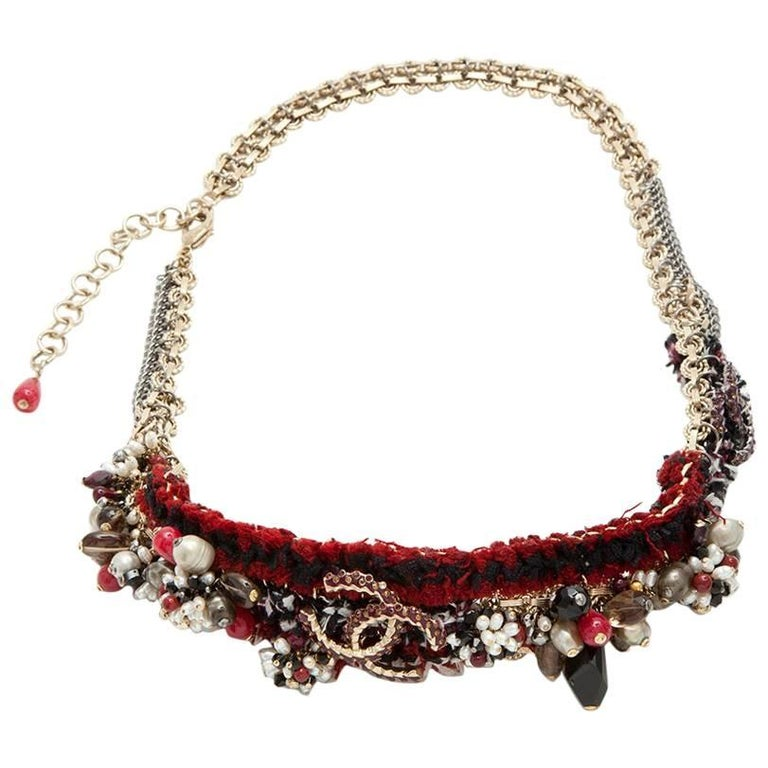 "CHANEL ""Paris-Bombay"" Belt in Red Tweed, CC, Glass Pearls and Rhinestones"
