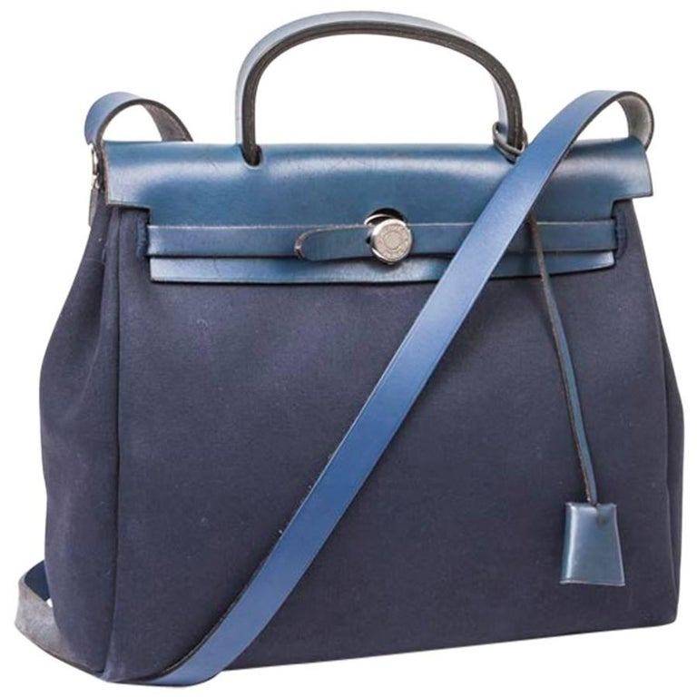 Hermes Herbag In Night Blue Canvas And Leather Bag